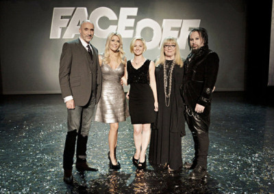 "FACE OFF -- ""Swan Song"" Episode 513 -- Pictured: (l-r) Neville Page, McKenzie Westmore, Laura Tyler, Ve Neill, Glenn Hetrick -- (Photo by: Nicole Wilder/Syfy)"