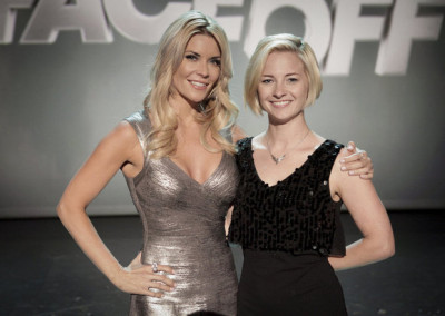 "FACE OFF -- ""Swan Song"" Episode 513 -- Pictured: (l-r) McKenzie Westmore, Laura Tyler -- (Photo by: Nicole Wilder/Syfy)"