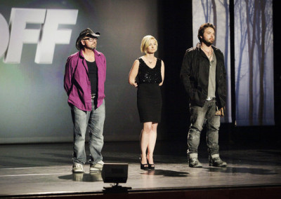 "FACE OFF -- ""Swan Song"" Episode 513 -- Pictured: (l-r) Roy Wooley, Laura Tyler, Bryan ""Tate"" Steinsiek -- (Photo by: Nicole Wilder/Syfy)"